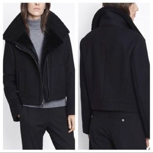 Vince Black Shearling Lined Wool Moto Jacket